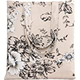 caixia Women's Cotton Daisy Floral Canvas Tote Shopping Bag Light Brown