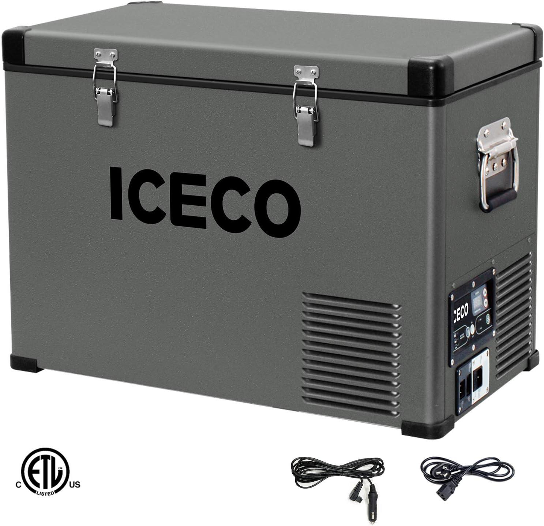 ICECO VL45 Portable Refrigerator 12V Fridge Freezer with SECOP Compressor, 48 Quarts 45Liters Platinum Compact Refrigerator, DC 12 24V, AC 110-240V, 0 to 50 , Home Car Use, for RV, Truck, Boat, Van