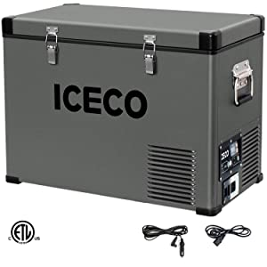 ICECO VL45 Portable Refrigerator for RV, Truck, Van, Portable Freezer Fridge, Car Electric Cooler with Danfoss Compressor, 45Liters Platinum Compact Refrigerator, DC Refrigerator 12/24V