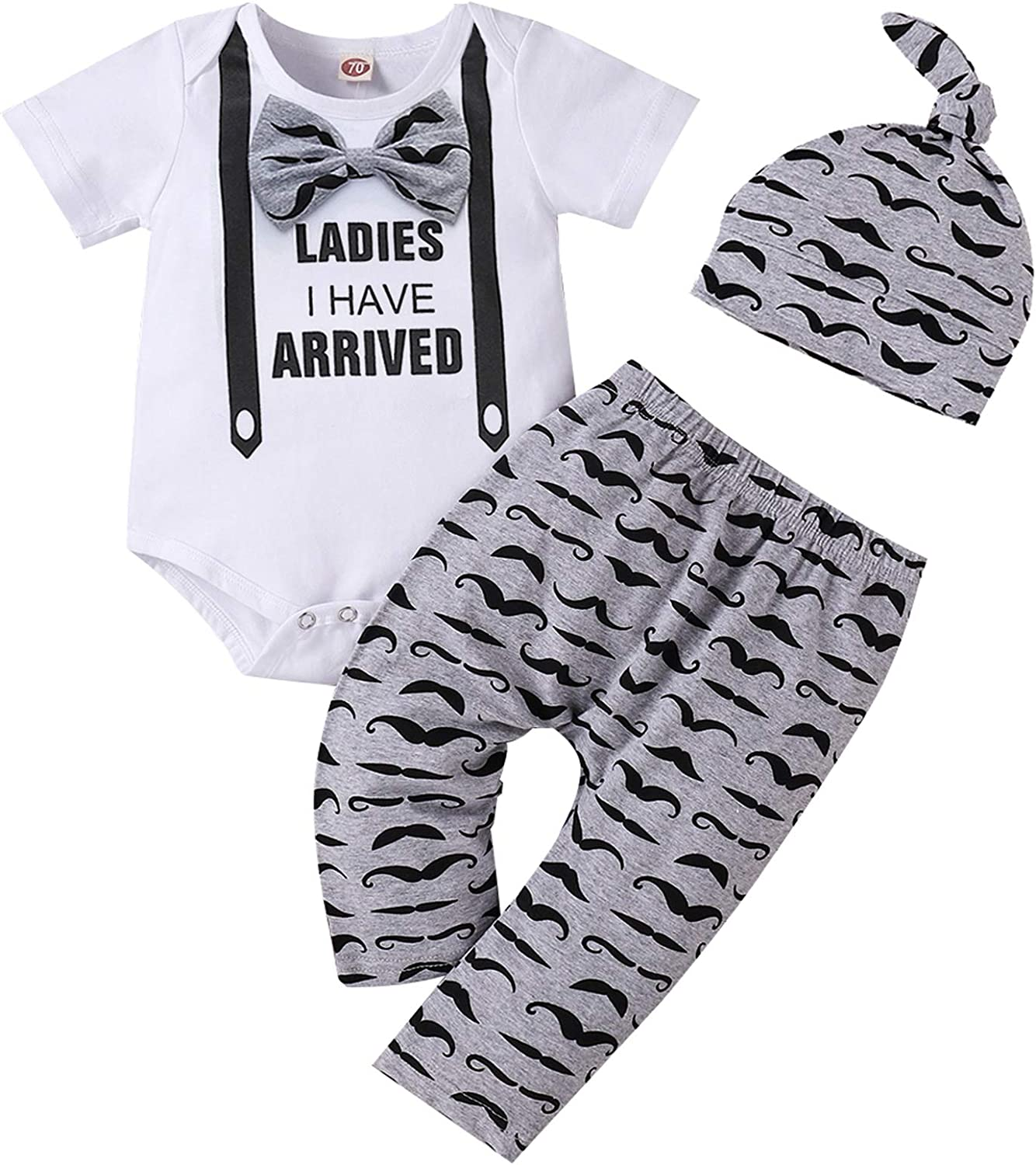 Baby Boy Clothes Stuff Infant Summer 3 Piece Outfits Newborn Cute Letter Printed Romper Short Sleeve + Pants + Hat