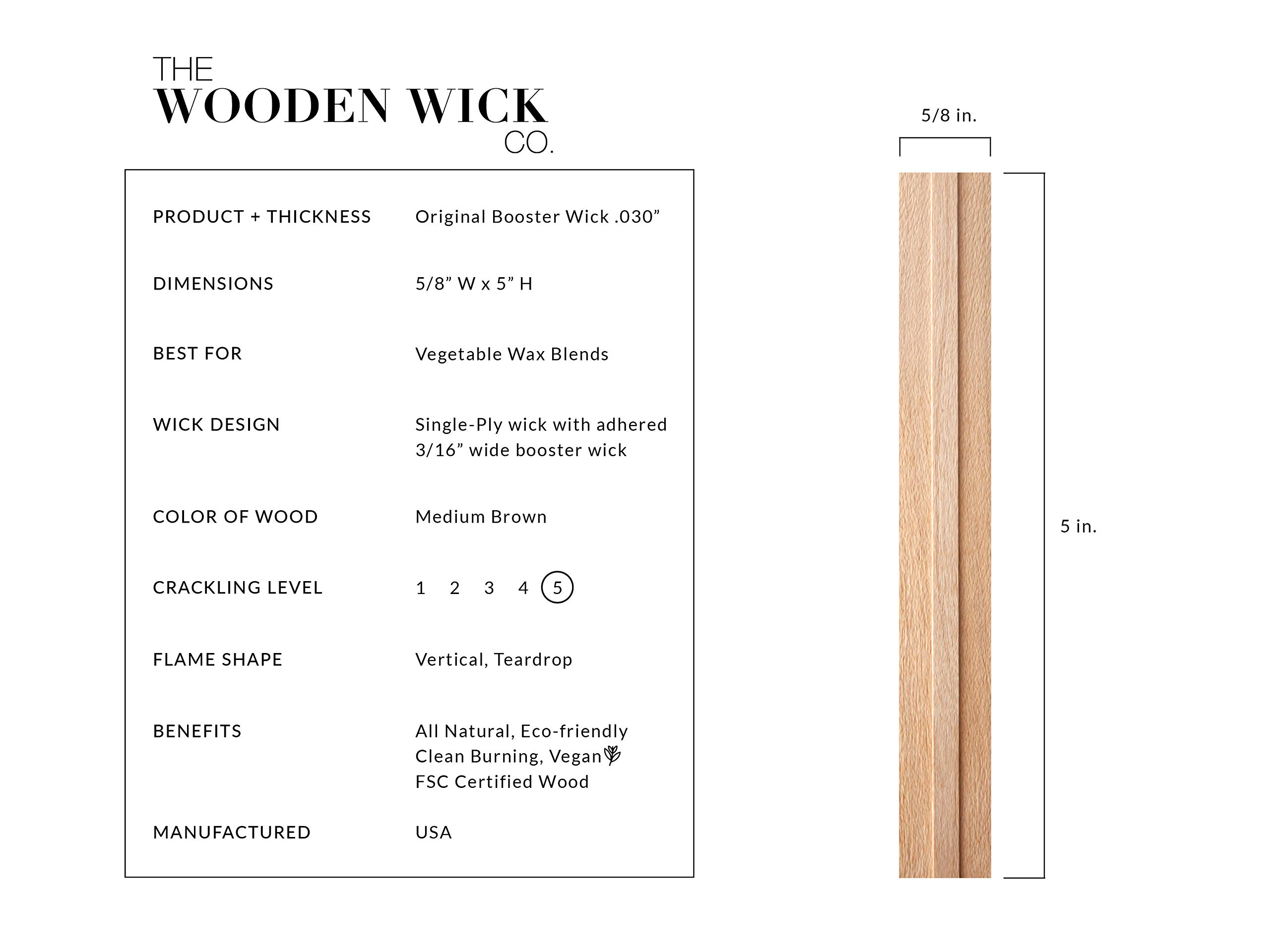 Wooden Candle Wick for Vegetable Blended Wax Candles with Jar Diameter 3.5 to 4 in. by Wooden Wick Co. | Crackling Wood Wick Candle Making Supplies with Metal Stand''Original Booster Wick'' by Wooden Wick Co. (Image #2)