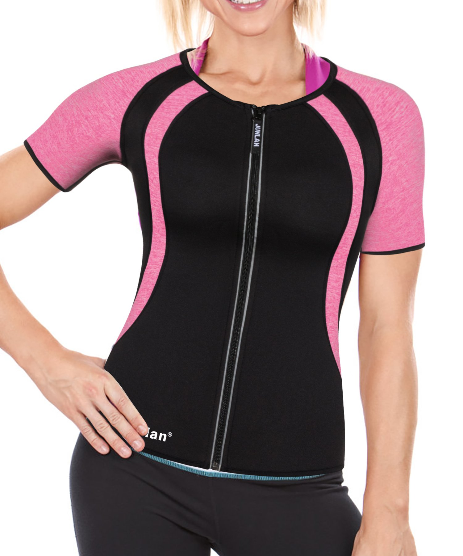 Neoprene Hot Sweat Sauna Body Shapers T-Shirts Zipper Slimming Weight Loss Gym Yoga Sports Fitness Short Sleeve Shirts (Sauna Suit Black, XXL) by Junlan