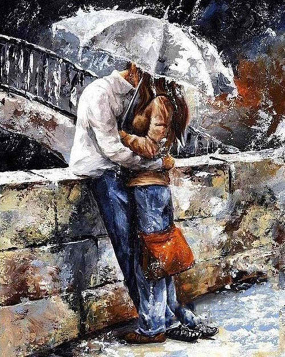 Magicxyz Diy Oil Painting Paint By Number Lovers Kiss And Umbrella Romantic 40x50cm With Brushes Paints And Canvas Home Decor For Adults Children Seniors Junior Beginner Level Acrylics Painting Kits Amazon Co Uk Kitchen