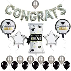 Graduation Balloons Black, White and Silver - Pack of 20   Graduation Balloons, Congrats Grad Balloons   Graduation Decorations 2020 Party Supplies   Congrats Balloons for 2020 Graduation Decorations