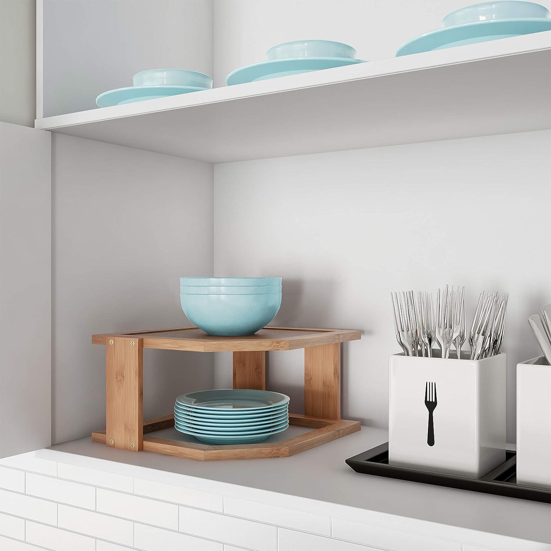 Lavish Home 2-Tier Bamboo Corner Shelf for Kitchen or Bathroom Cabinet Countertop, Cupboard Storage and Organizer, Natural Wood Space Saving Rack