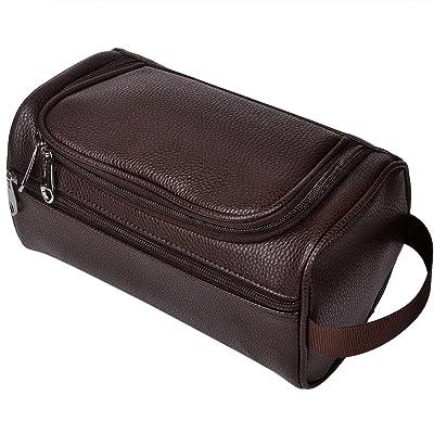 HappyDavid PU Leather Travel Toiletry Bags Mens Ladies Supply Toiletry Dopp Kit Bag