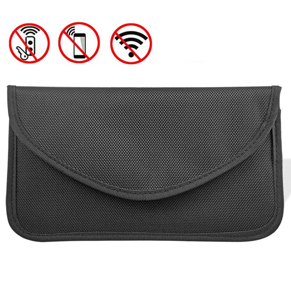 Keyless Go Schutz Autoschlüssel, MONOJOY Auto Signal Keyless Schlüsseletui Funkschlüssel Abschirmung, RFID Key Safe Strahlenschutz Tasche (Groß Schwarz) GKmall