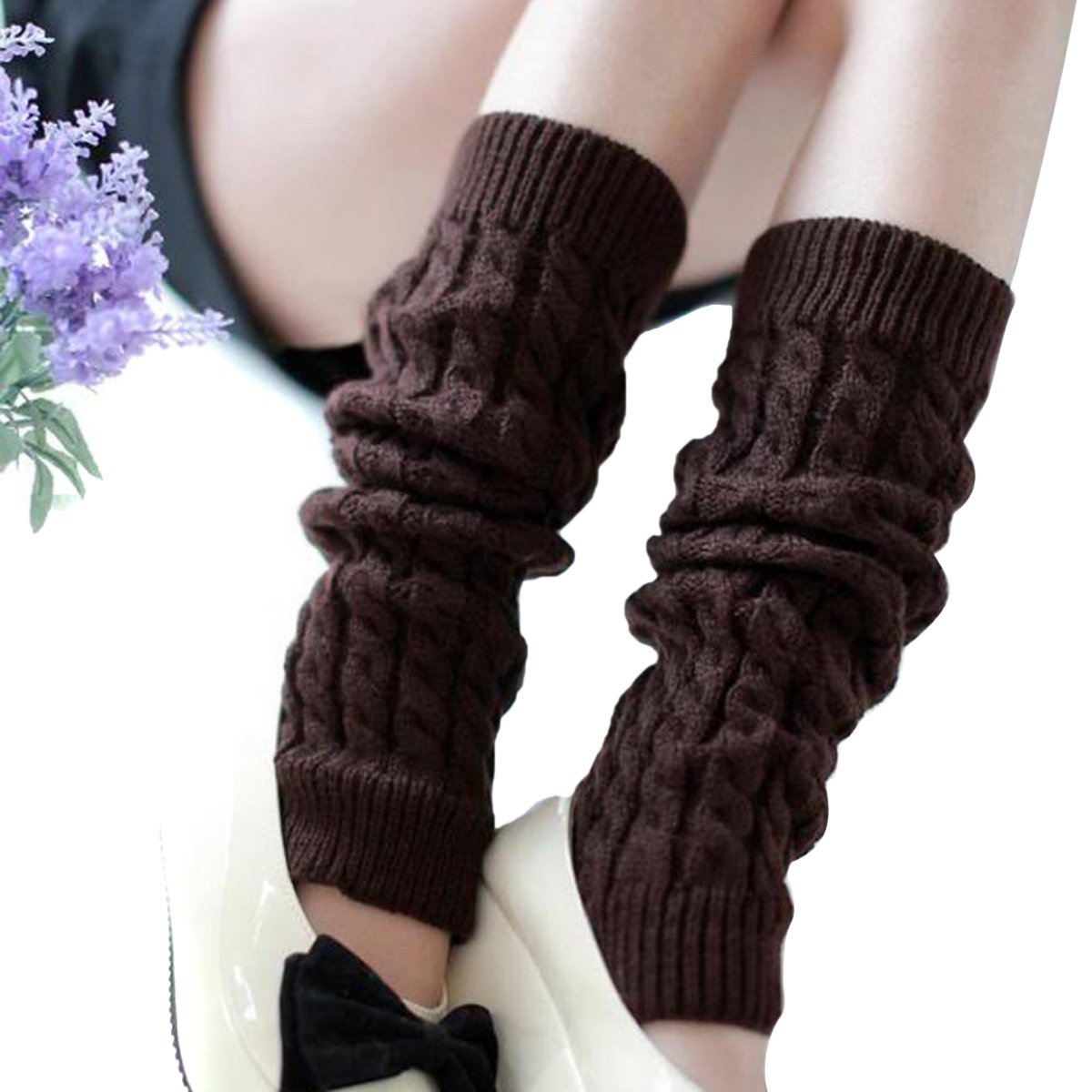 Butterme Fashion Women's Autumn Winter Warm Crochet Braided Knitted Leg Warmers (Light Grey) ZUMUii