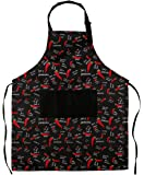 Flying Frog Adjustable Bib Apron with Pockets for Men and Women - Chili Pepper Apron - Adjustable Neck Strap - Extra Long Ties (33inches by 27inches)
