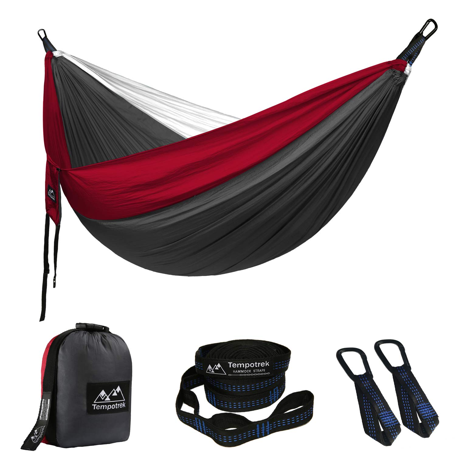 Tempotrek Double Camping Hammock -Best Parachute Hammock Travel Lightweight Nylon Portable Hammock for Backpacking Yard 118 800LB High Capacity x 78 L Beach W