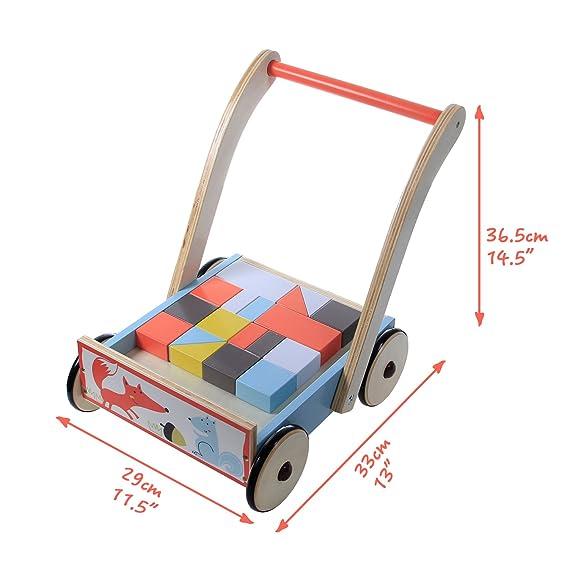... zorro azul andador con bloques de 1-3 años, sin caminar andador/andador madera/andador de madera/andador de madera/andando bebé andador bebé/andador: ...