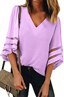 9860e57bd01aa3 Aleumdr Bluse Damen Langarm Pullover blusen v Ausschnitt Einfarbig Elegante  Tunika Glockenhülse Chiffon Casual Top Locker