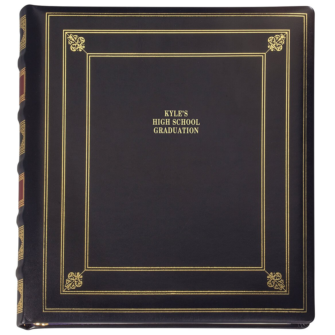 Personalized Library Leather Album - Navy 3 Lines