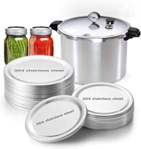 304 Stainless Steel Mason Jar Lids Special for Pressure Cooker Canning & Boiling In High Pressure Canner Without Bulging & Buckled, High Temperatures & Warp-resistant Lids - Wide Mouth 86mm (20PCS)