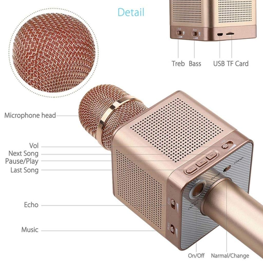 Rsiosle Wireless Bluetooth Karaoke Microphone Portable Home KTV Karaoke MIC with 4 Speakers Voice Change Compatible with Android and iOS ( Color : Pink ) by Rsiosle (Image #5)