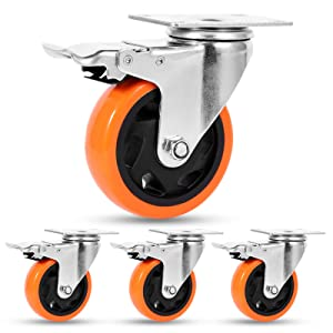 4 Inch Swivel Casters with Brake Set of 4 Heavy Duty of 1200 lbs, Safety Dual Locking Plate Castors, No Noise Polyurethane Wheels for Furniture, Workbench and Carts(Free Nuts and Bolts and 2 Spanners)