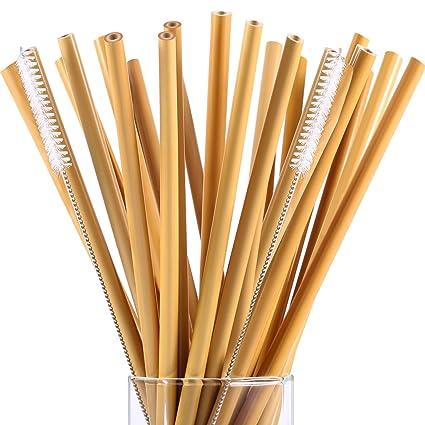 Hestya 20 Piezas 7.5 Pulgadas Pajitas de Bebida de Bambú Reutilizable Pajitas de Niños Alternativa a