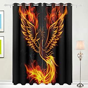 Nobranded Thermal Curtain Light Blocking Panels - Phoenix in Fire Fantastic Bird Grommet Blackout Insulated Sliding Door Soundproof Drapes 72 Inch Long