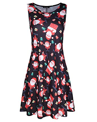 kilig womens christmas round neck sleeveless pockets party cocktail dressesfloral02 - Christmas Cocktail Dresses