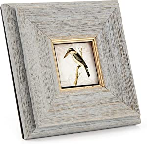 PASTRACES 3x3 Picture Frames Rustic with Mat Wall Handmade Wood Grain White Photo Frame CH0014