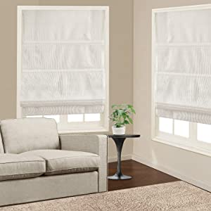 Roman Shades Window Blinds, White Premium Blackout Roman Window Shades, Custom Washable Fabric Roman Shades for Windows, Doors, French Doors, Kitchen Windows (1 Piece)