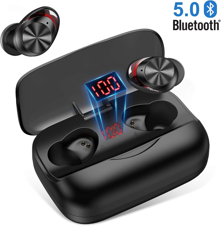 Auriculares Bluetooth 5.0, Orit Auriculares inalámbricos In-Ear Mini Twins HiFi Sonido Estéreo 126H reproducción Cascos inalámbricos Bluetooth con 3000mAh Caja de Carga para Andriod, iPhone … (Nero1)