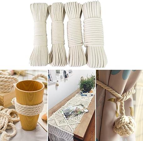 Cuerda de algodón natural trenzada para DIY, colgador de macetas en la pared, punto hecho a mano, decoración bohemia, macramé, algodón, 4mm/50M: Amazon.es: Hogar