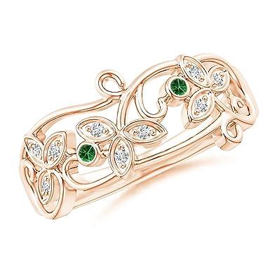 Angara Vintage Style Tsavorite and Diamond Flower Scroll Ring Ej3yb