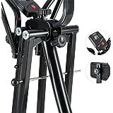 Klarfit Bogera X - Crosstrainer Air Walker, vélo elliptique avec ordinateur de bord et coussin pour le ventre pour maintien parfait (fonction compteur de pouls, calories, distance, vitesse…)