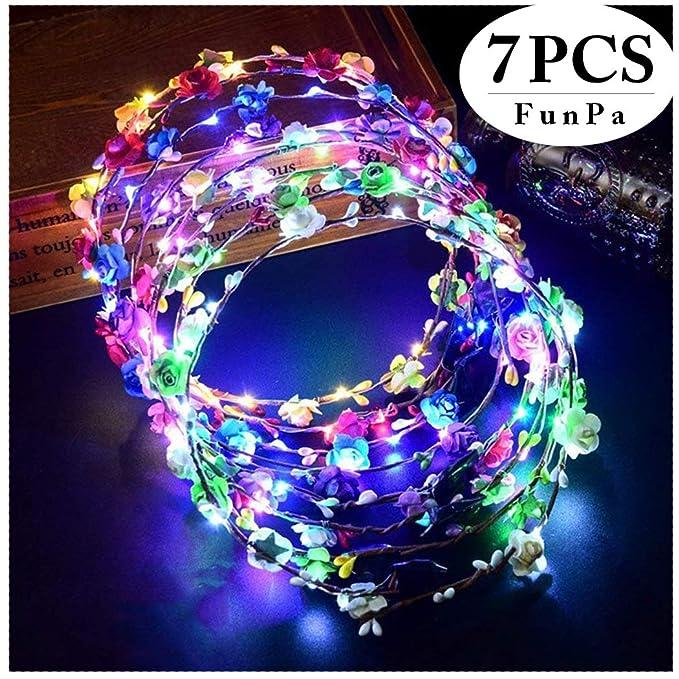 Diadema coroan floral con luces LED para fiesta nocturna - Accesorio para fiesta de halloween o carnaval.