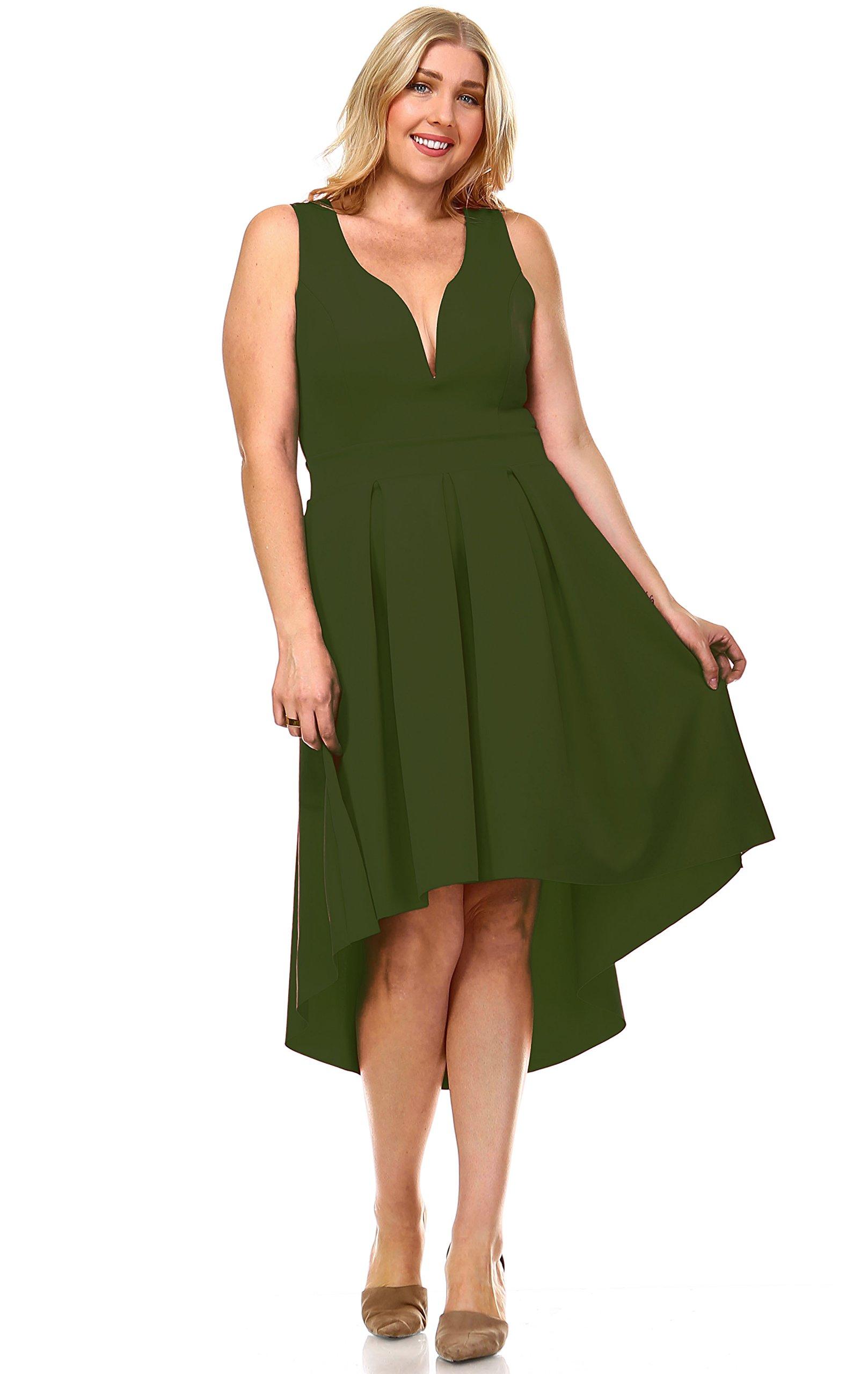 Zoozie LA Women's Plus Size Pleated Midi Cocktail Dress with Empire Waist Olive 3X by Zoozie LA