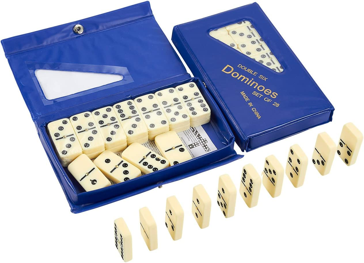 Double Six Dominoes Set - 2 Pack of Classic 28 Pieces Ivory Domino Tiles in Durable Plastic Storage Case for Table Game
