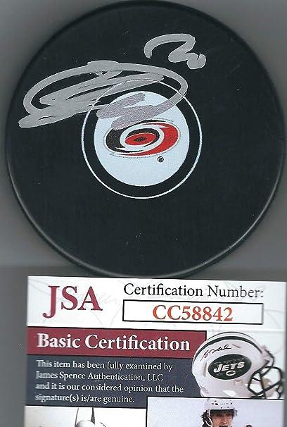 fc344cb99 Autographed Sebastian Aho Carolina Hurricanes Hockey Puck JSA at ...