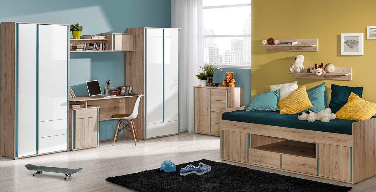 Kinderzimmer Jugendzimmer MAXIM 9tg komplett Set C weiß hochglanz oder Eiche Schrank Schreibtisch Bett 90x200 Kommode Standregal NEU