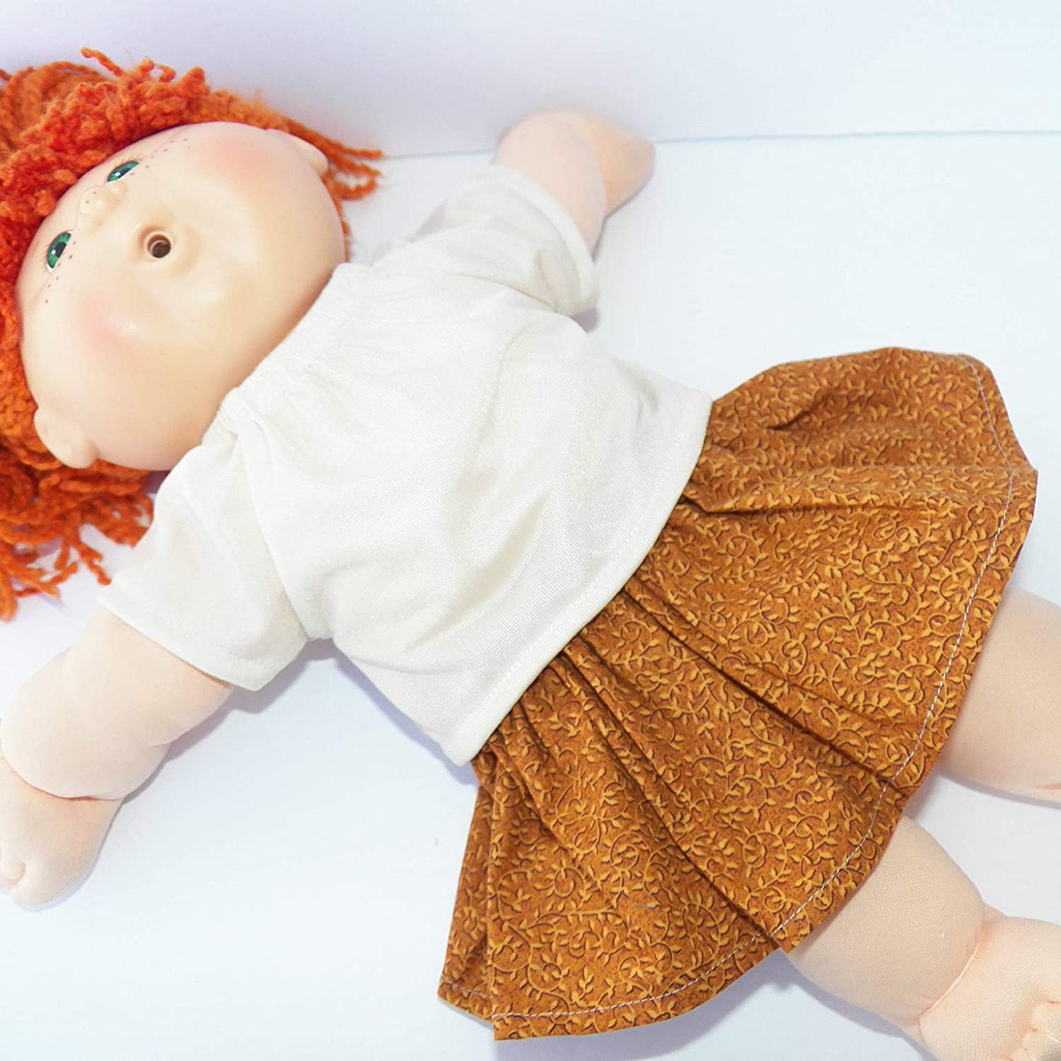 Cabbage Patch Doll Clothes 16 Inch Girl Size Brown Fall Skirt Outfit Clothes Only
