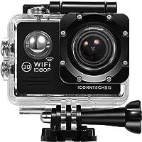 ICONNTECHS IT FULL HD 1080P Cámara deportiva y acción sumergible, lente angular de 170°, WiFi, grabación HDMI, accesorios para casco, bicicleta y deportes extremos incluidos gratis (Negro)
