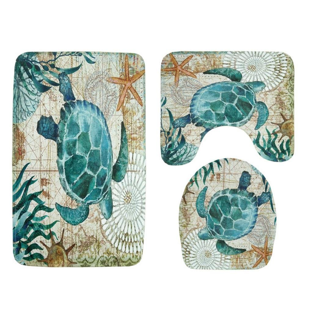 Sothread 3PC/Set Non-Slip Sea Turtle Octopus Printed Mat U pad+Lid Toilet Cover+Bath Mat Pad (Sea turtle) by Sothread