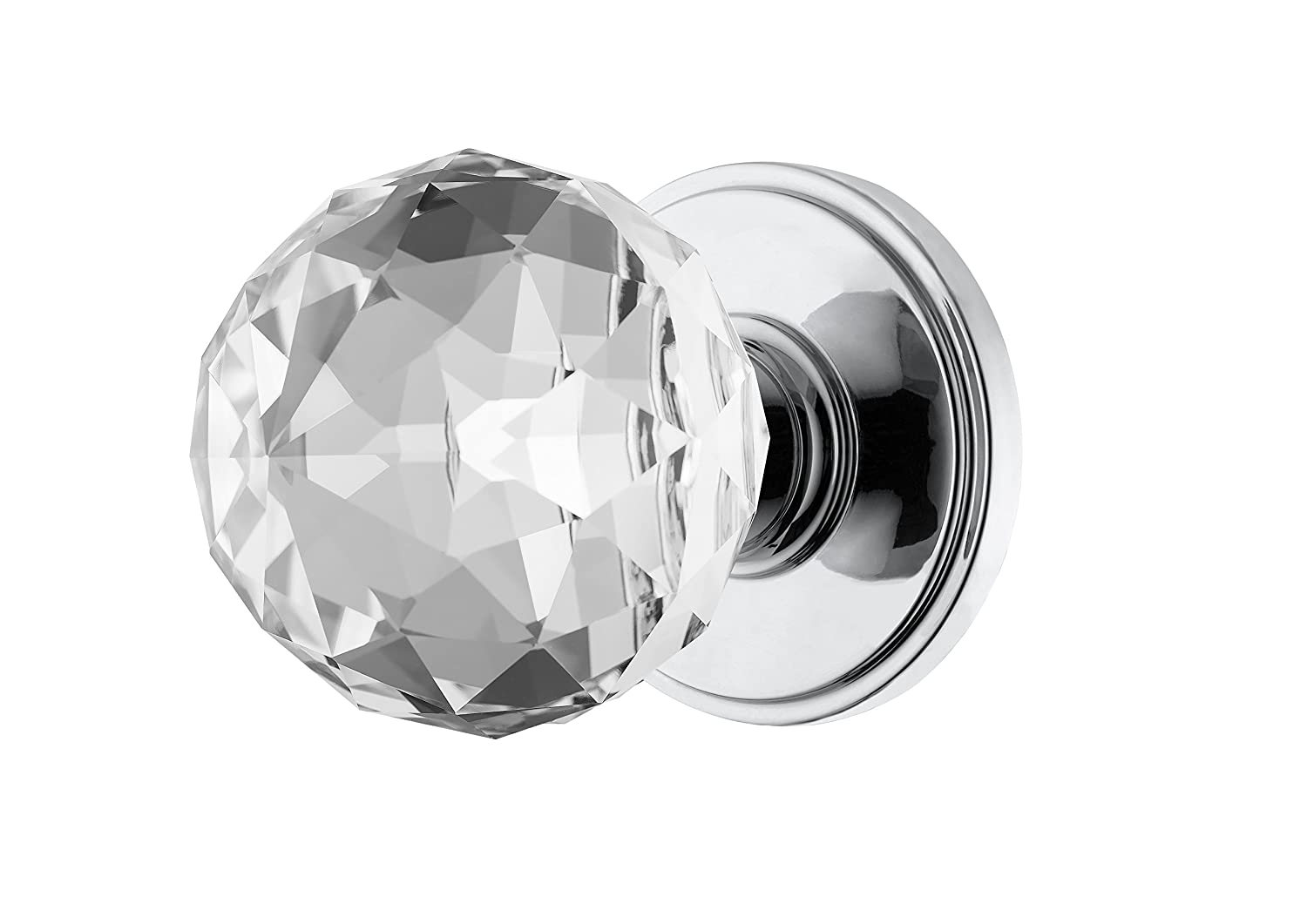 Decor Living, AMG and Enchante Accessories Faceted Crystal Door Knobs, Passage Function for Hall and Closet, IRIS Collection, DK04C POC, Polished Chrome