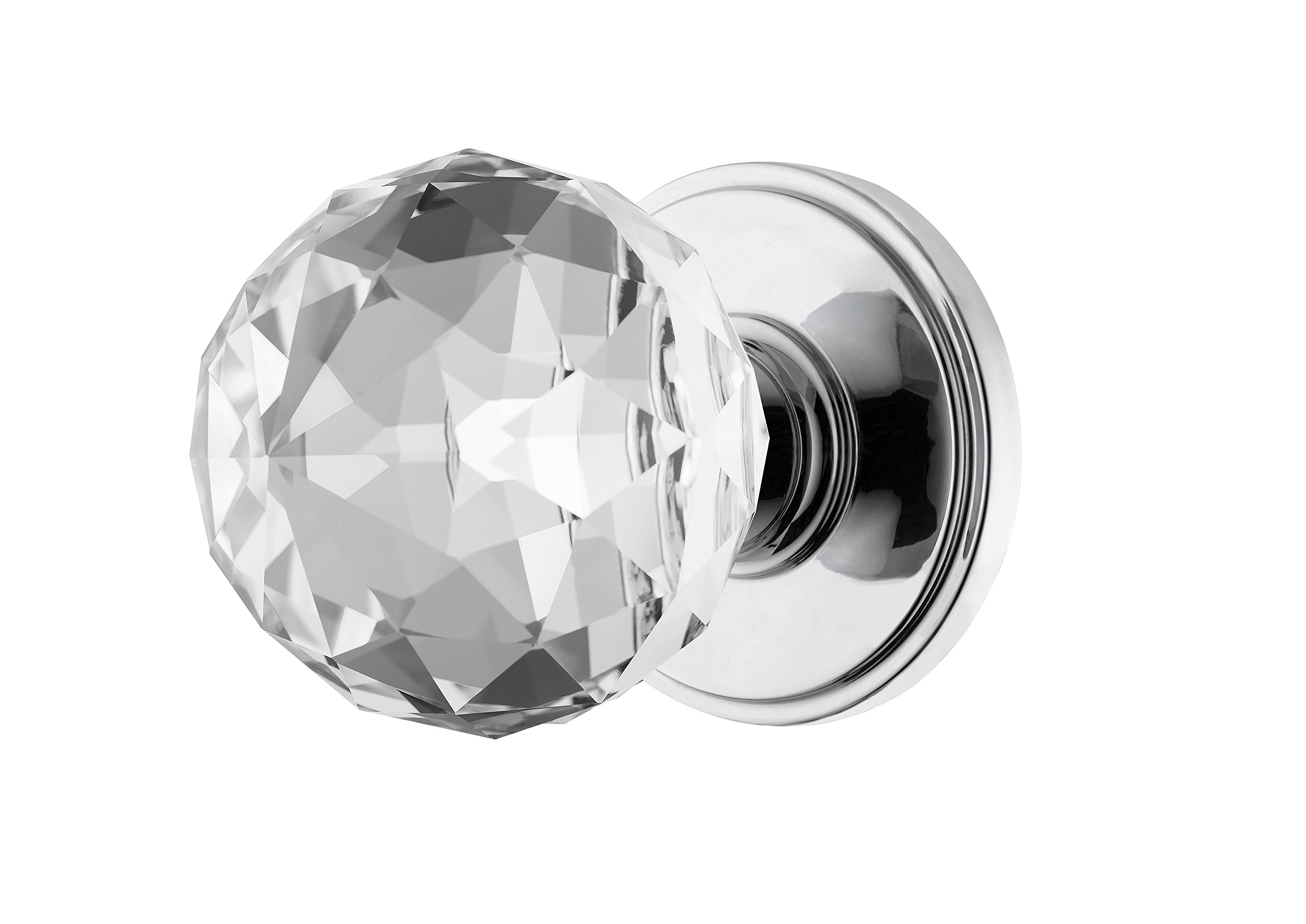 Decor Living, AMG and Enchante Accessories Faceted Crystal Door Knobs with Lock, Privacy Function for Bed and Bath, IRIS Collection, DK04C-PR POC, Polished Chrome