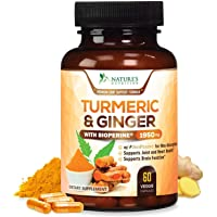 Turmeric Curcumin with Ginger 95% Curcuminoids 1950mg with Bioperine Black Pepper for Best Absorption, Made in USA, Anti-Inflammatory Joint Relief, Turmeric Pills by Natures Nutrition - 60 Capsules