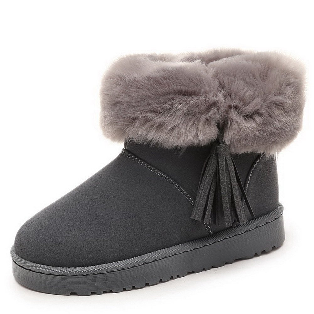 AmoonyFashion Women's Low-Top Pull-On Frosted Low-Heels Round Closed Toe Snow-Boots, Gray, 36 by AmoonyFashion