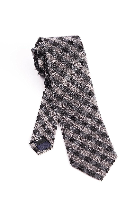 Pure Silk Gray and Black Check Pattern Tie by Tiglio Luxe