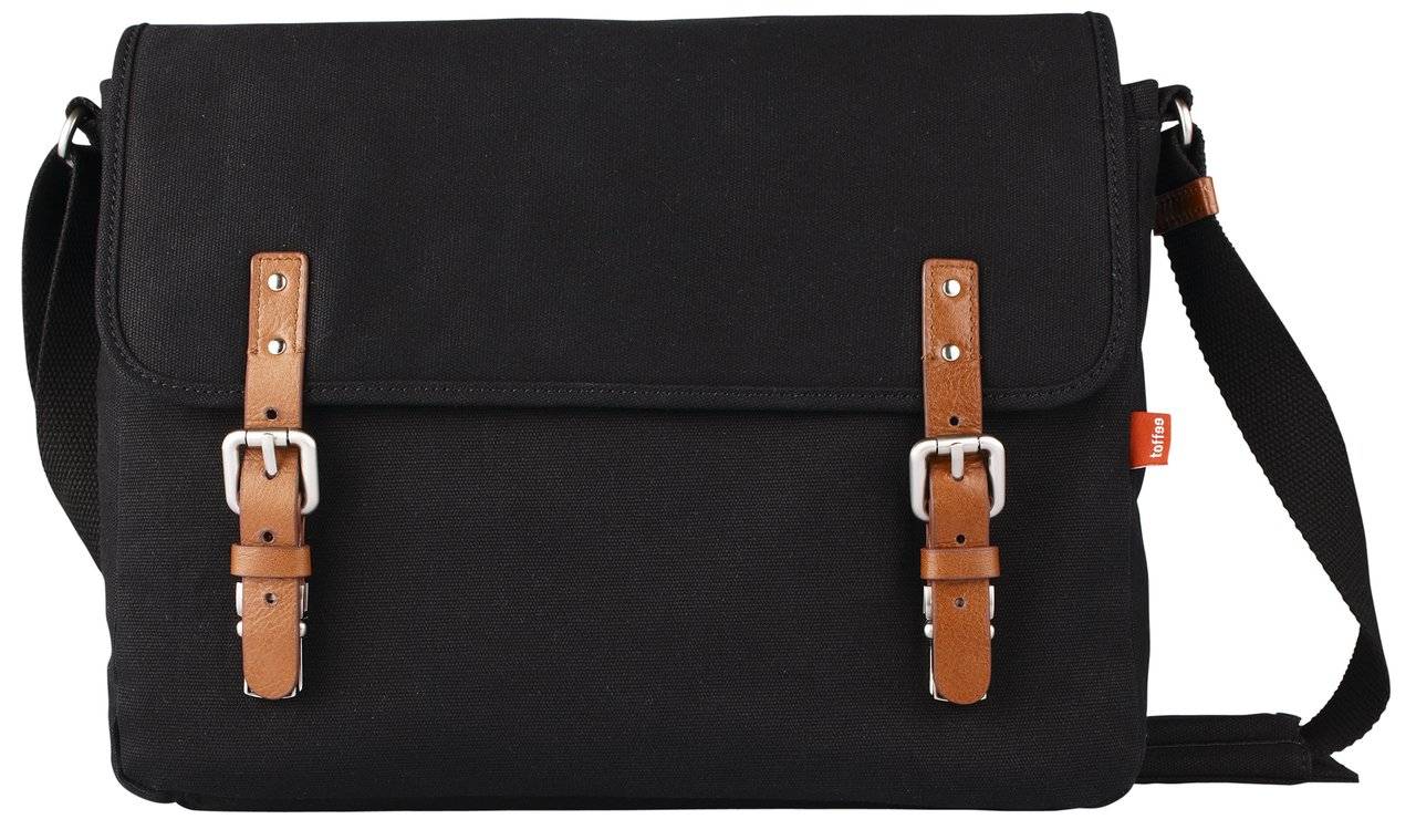 Toffee Fitzroy Satchel for Apple Macbook Pro-Retina and most Laptops up to 15.4-inch (Black)