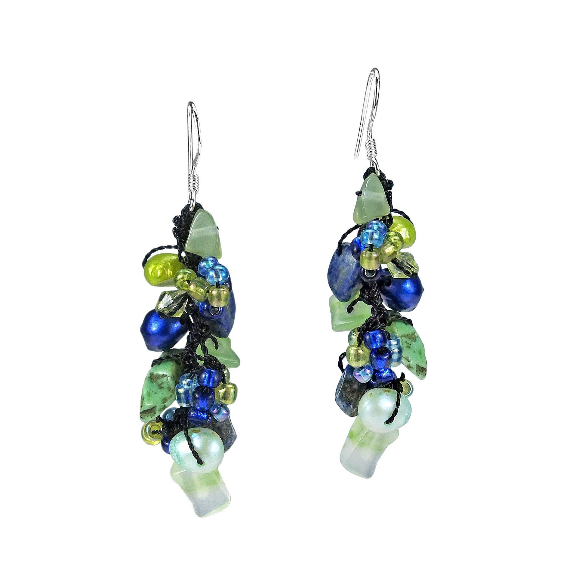 Sweet Blue-Green Serenade Mix Stones .925 Sterling Silver Dangle Earrings