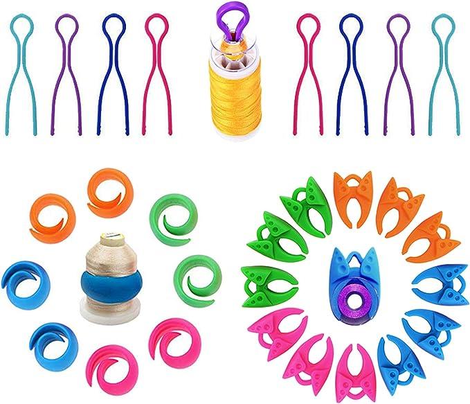 Egalbest 12pcs Thread Bobbin Holders Clips Silicone Thread Spool Huggers Sewing Machine Bobbin Clamp Random Color