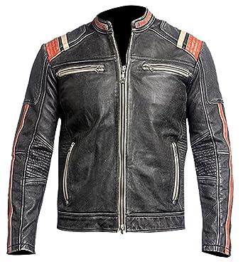 Leatherly Cafe Racer moto Retro Vintage Biker estilo chaqueta cuero moto con rayas rojas en las mangas