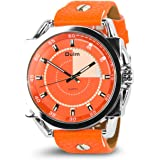 Women's Analog Quartz Watch Unique Wrist Watch Business Dress Casual Watch Classic Design High Big Dial Luminous Hands PU Leather Band Cheap Watch on Sale 98FT 30M Waterproof-Orange