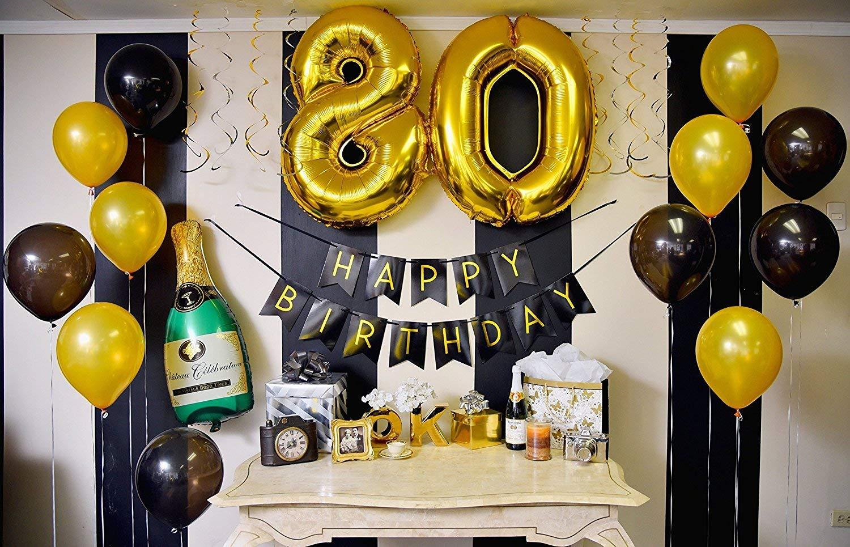Cumpleaños Número 80 – Paquete con Banderín de Feliz Cumpleaños Negro y Dorado, Pompones y Serpentinas - Decoración para Cumpleaños – Artículos para ...