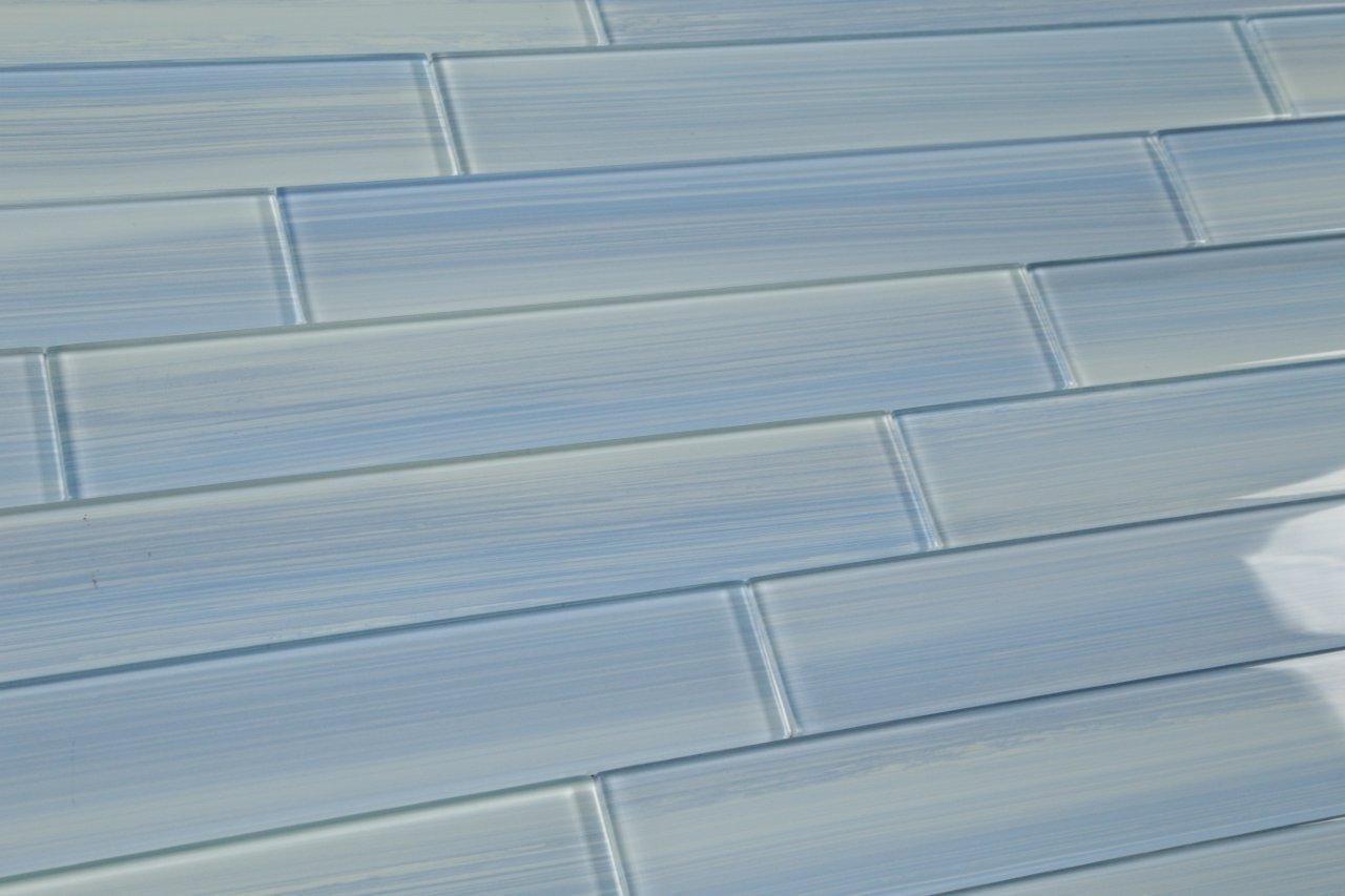 Big Blue Glass Subway Tile for Kitchen Backsplash or Bathroom/showers, 3x6 (10 Sq Ft Box)