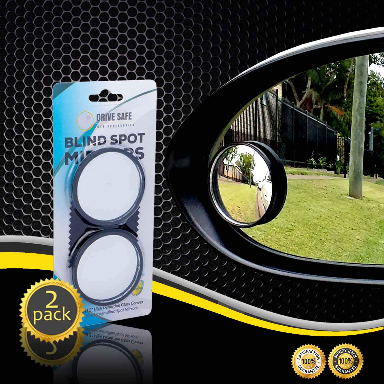 Eliminate and Improve Your Blind Spots Ultimate Rear View Mirror for All Cars Ideal for Parallel Parking Drive Safe Blind Spot Mirrors HD 2 Fixed Round Glass Blind Spot Mirror 2-Pack